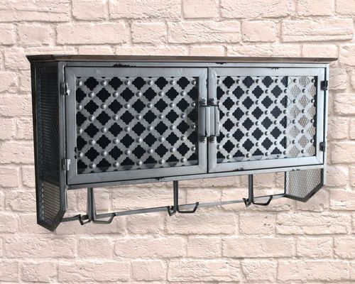 Industrial Large Ornate Pattern Wall Cabinet & Hooks